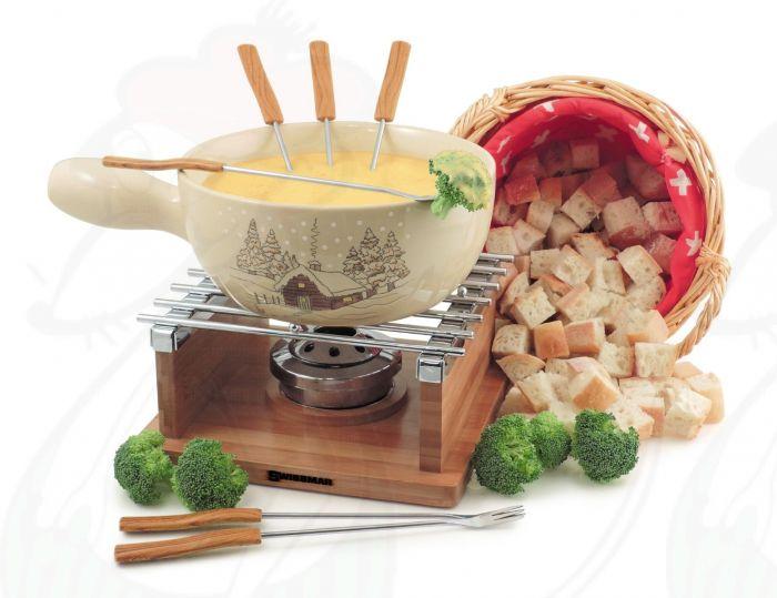 Swissmar 9 Pcs Lugano Cast Iron Cheese Fondue Set White Matte