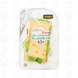 Sliced Maasdammer Holey Cheese Young 45+   190 grams in slices