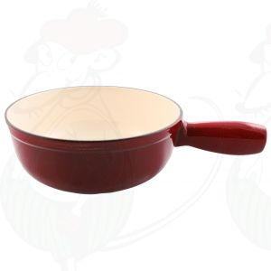 Plain red cast iron/enamelled cheese fondue pan.