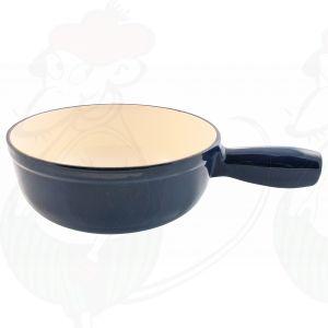 Plain blue cast iron/enamelled cheese fondue pot