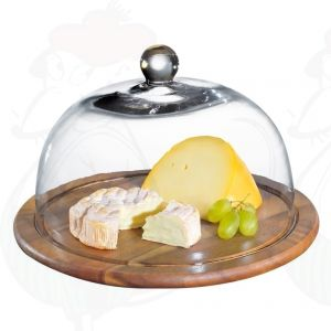 Cheese dome acacia wood with glass cover Ø 30 cm