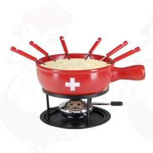 Cheese fondue set 9 part Swiss Red